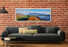 Panoramic view from the summit of Cat Bells - White Maple floater frame with acrylic glazing on Wall