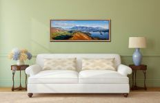 Panoramic view from the summit of Cat Bells - Oak floater frame with acrylic glazing on Wall