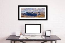 Sca Fell From Coniston Fell - Framed Print with Mount on Wall