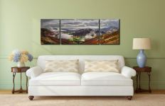 Great Langdale and Lingmoor Fell - 3 Panel Wide Mid Canvas on Wall