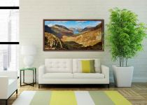 The Buttermere Valley Autumn Sunshine - Walnut floater frame with acrylic glazing on Wall