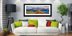 Cat Bells Panorama - Framed Print with Mount on Wall