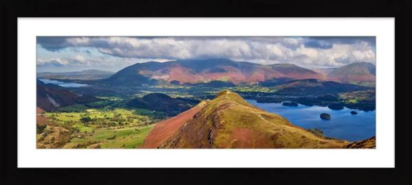 Cat Bells Panorama - Framed Print with Mount