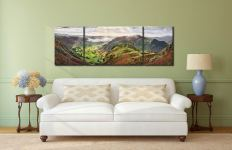 Glorious Great Langdale - 3 Panel Wide Mid Canvas on Wall