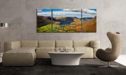 Buttermere Village Crummock Water - 3 Panel Wide Mid Canvas on Wall