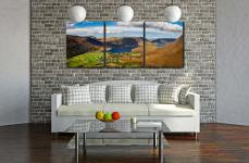 Buttermere Village Crummock Water - 3 Panel Canvas on Wall