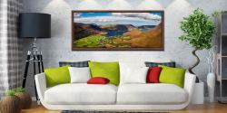 Buttermere Village Crummock Water - Walnut floater frame with acrylic glazing on Wall