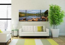 Elterwater Summer Reflections - 3 Panel Wide Mid Canvas on Wall