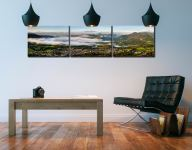 Misty Summer Morning Over Derwent Water - 3 Panel Canvas on Wall