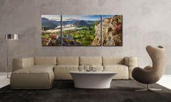 Heather Rocks Crummock - 3 Panel Wide Mid Canvas on Wall