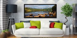 Elterwater Summer Reflections - Black oak floater frame with acrylic glazing on Wall