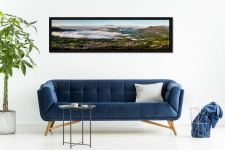 Misty Summer Morning Over Derwent Water - Black oak floater frame with acrylic glazing on Wall