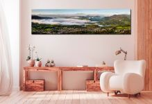 Misty Summer Morning Over Derwent Water - Print Aluminium Backing With Acrylic Glazing on Wall