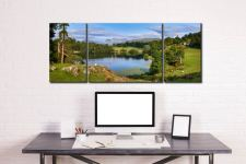 Summer Greens of Loughrigg Tarn - 3 Panel Wide Mid Canvas on Wall