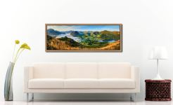 The morning mists receding back to Buttermere from the Loweswater Fells - Oak floater frame with acrylic glazing on Wall