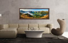 The morning mists receding back to Buttermere from the Loweswater Fells - Walnut floater frame with acrylic glazing on Wall