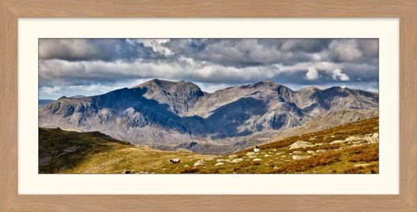 Scafell Pike from the Coniston Fells - Framed Print with Mount