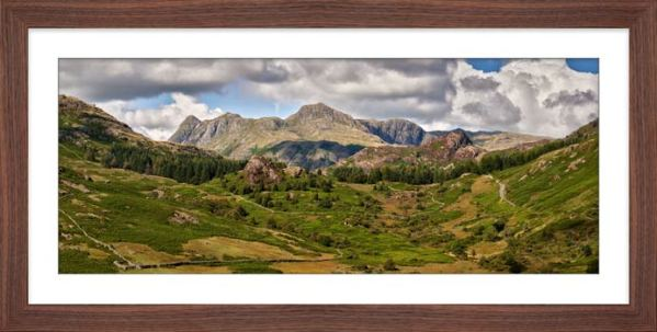 Langdale Pikes from Little Langdale - Framed Print with Mount