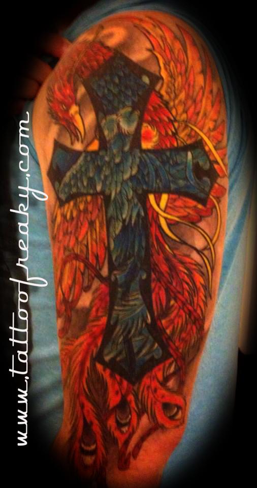 cross phoenix tattoo Tauranga New Zealand