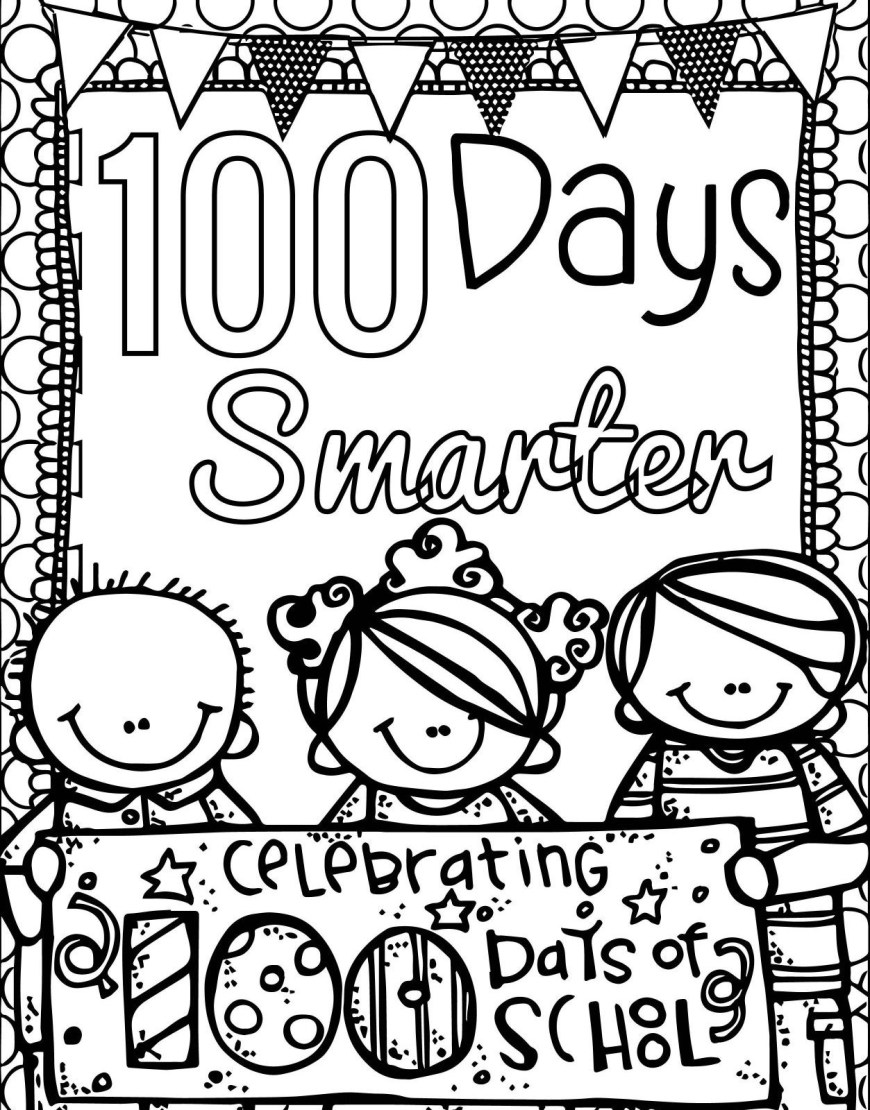 100th Day Of School Coloring Pages 100 Day Coloring Page Wuming