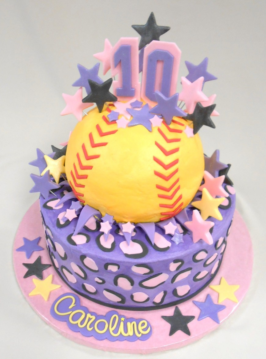 10Th Birthday Cake Custom Softball Cake With Fondant Detailing Happy 10th Birthday