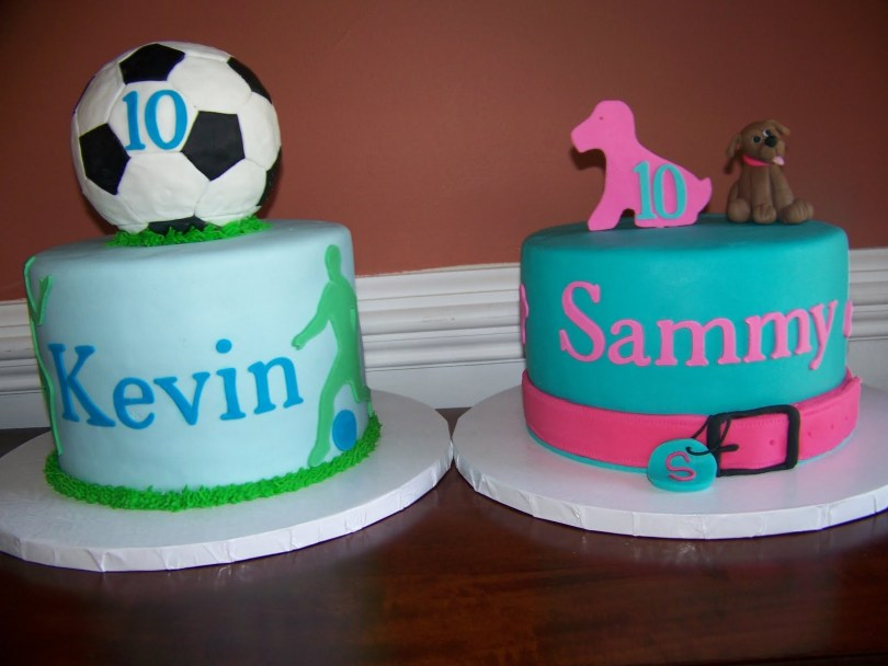 10Th Birthday Cake The Red Headed Baker Twins 10th Birthday Cakes Puppy And Soccer Cakes
