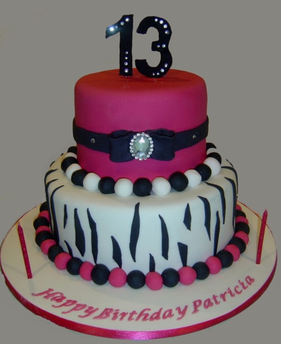 13Th Birthday Cake Hot Pink And Zebra 13th Cakecentral