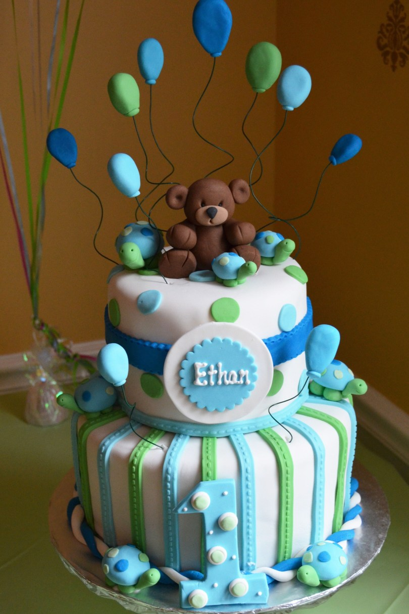 1St Birthday Cakes For Boys Boy 1st Birthday Cake Blue And Green Bears And Turtles Julie