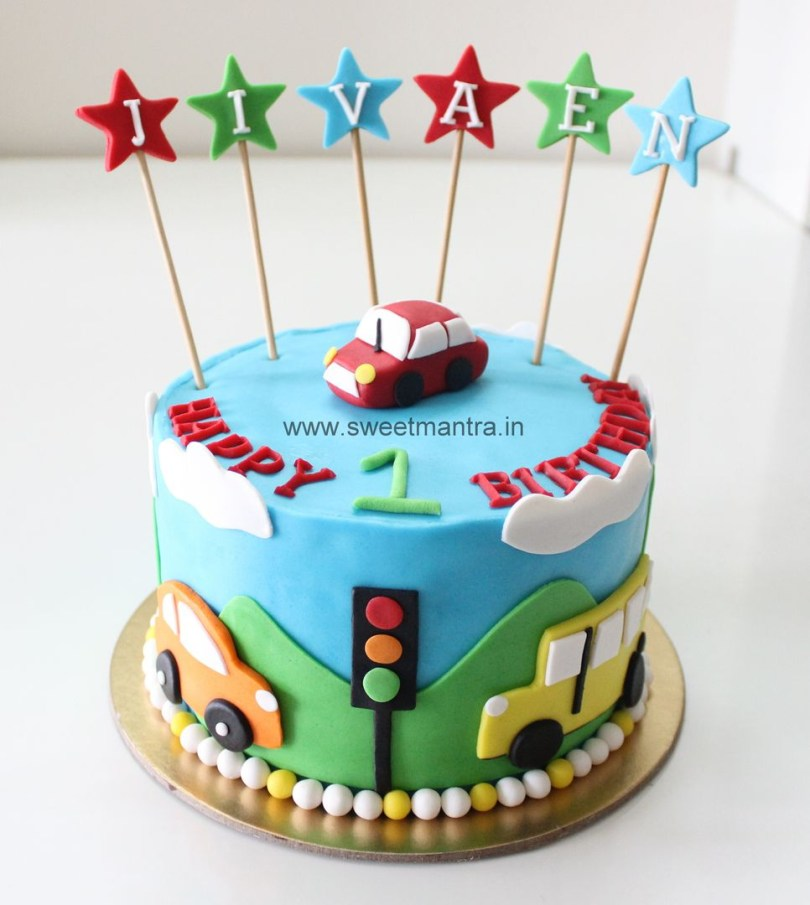 1St Birthday Cakes For Boys Homemade Eggless 3dcustom Car Theme 1st Birthday Cake For Boy At