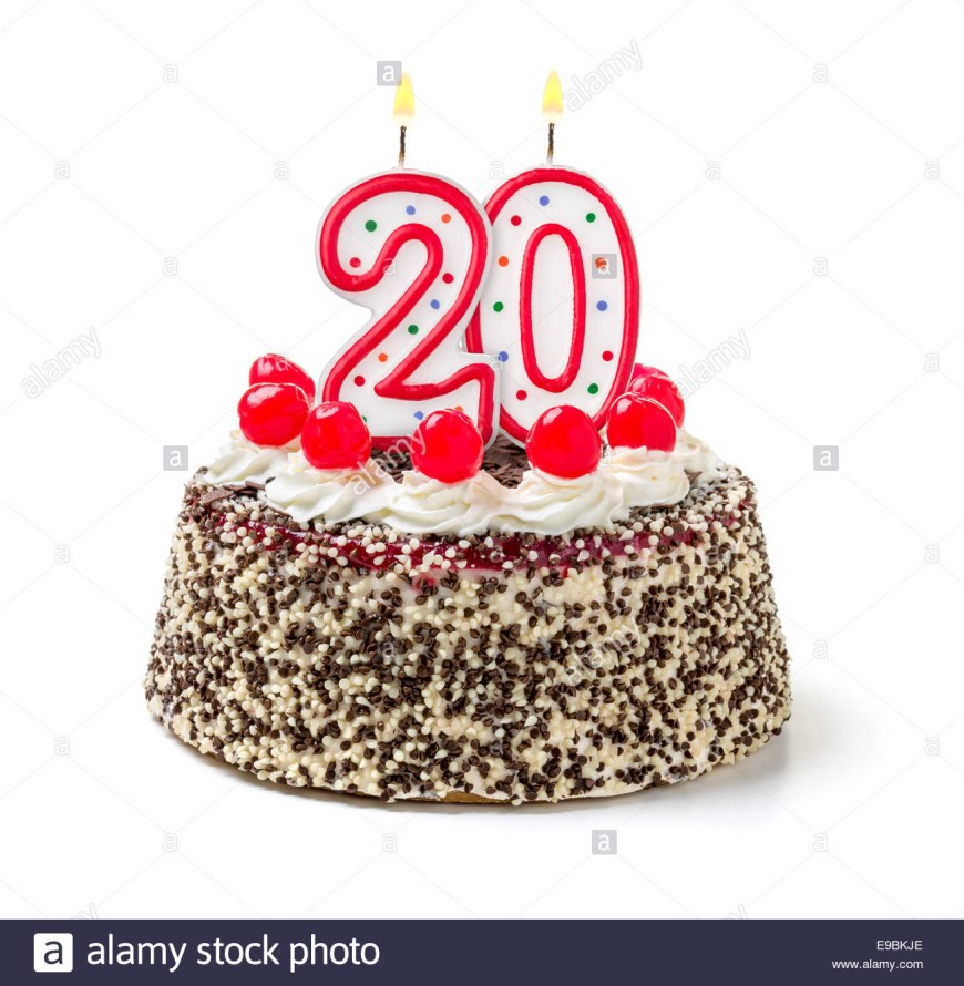 20Th Birthday Cake Birthday Cake With Burning Candle Number 20 Stock Photo 74630262