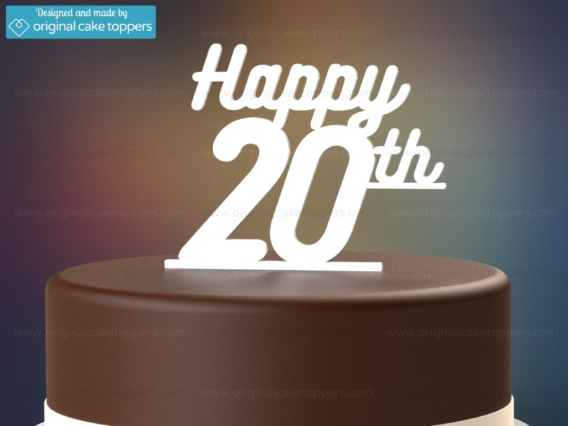 20Th Birthday Cake Happy 20th White 20th Birthday Cake Topper Original Cake Toppers