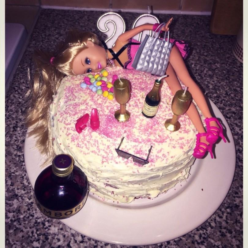 20Th Birthday Cake Tipsy Barbie 20th Birthday Cake Birthday Ideas Birthday 20th