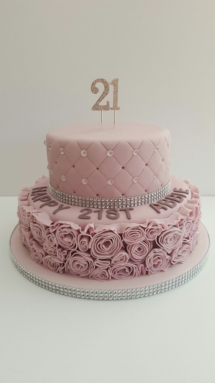 21St Birthday Cakes Glamorous Dusky Pink 21st Birthday Cake21 Covered In Fondant