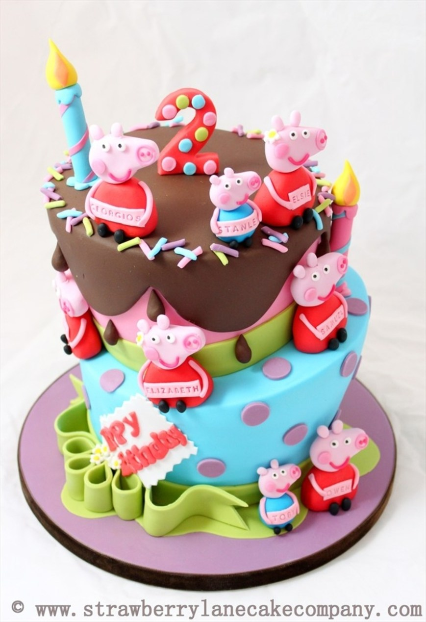 2Nd Birthday Cake Peppa Pig And George Joint 2nd Birthday Cake For 6 Babies
