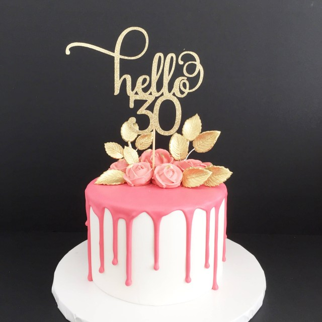 30Th Birthday Cakes Hello 30 Glitter Cake Topper Any Age 30th