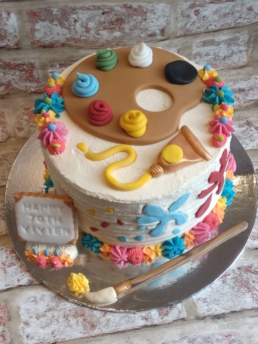 70Th Birthday Cake Ideas Artist Themed For 70th Pinterest