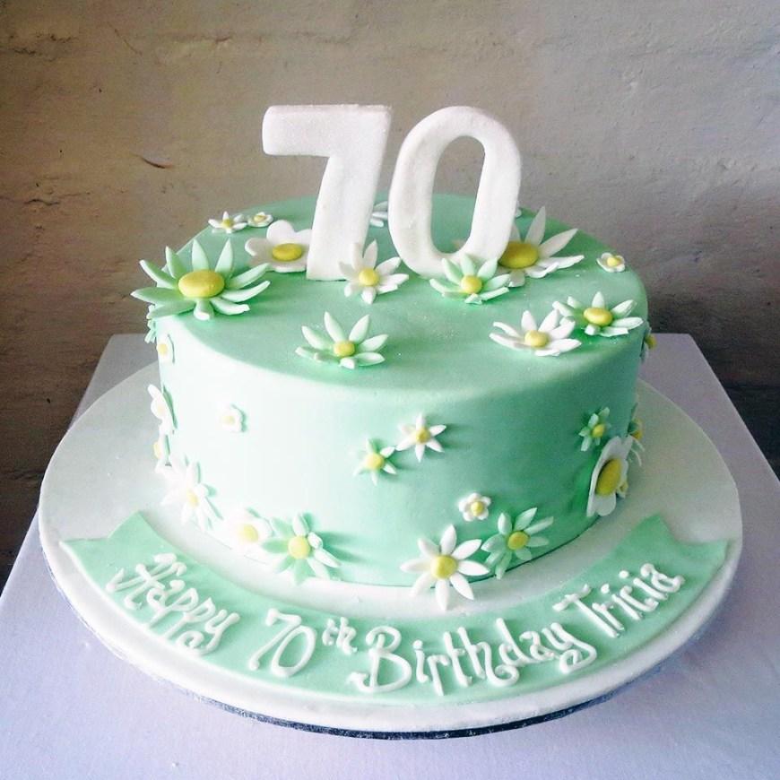 70Th Birthday Cake Ideas Birthday Cakes For Women 70th Pastel Green Floral Birthday Cake
