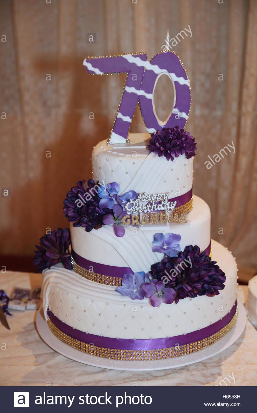 70Th Birthday Cake Ideas Fancy Three Tier 70th Birthday Cake Stock Photo 124274299 Alamy