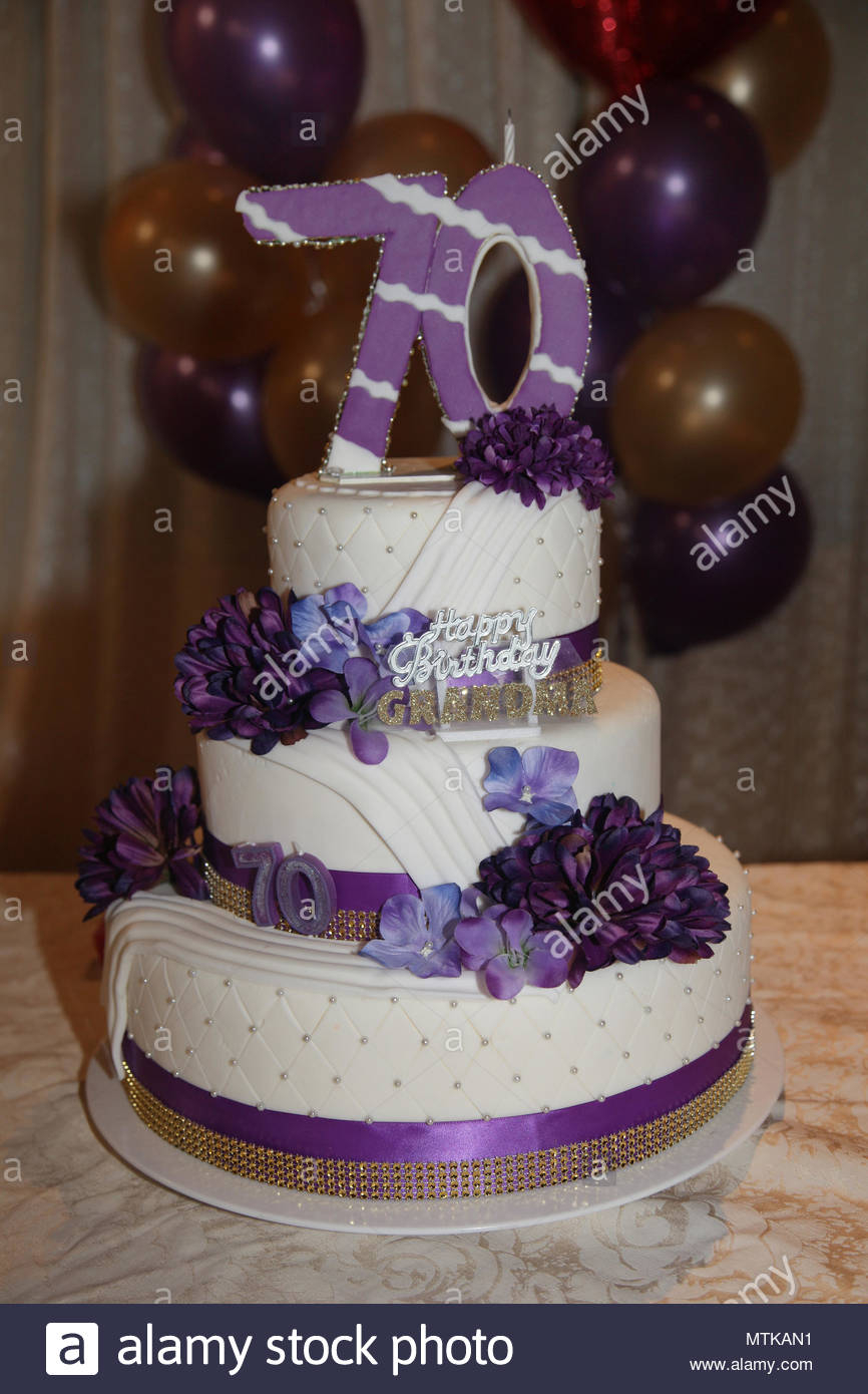 70Th Birthday Cake Ideas Fancy Three Tier 70th Stock Photo 187280941 Alamy