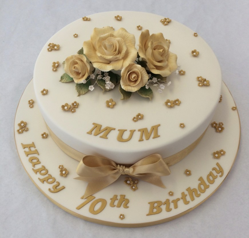70Th Birthday Cakes 10 Round Gold 70th Birthday Cake Adult Birthday Cakes