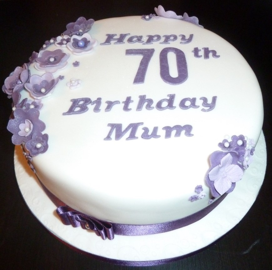 70Th Birthday Cakes 70th Birthday Cake With Purple Flowers Wedding Birthday Cakes