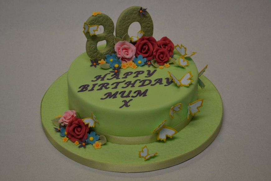 80Th Birthday Cake Ideas Green Butterfly And Flower 80th Birthday Cake Celebration Cakes
