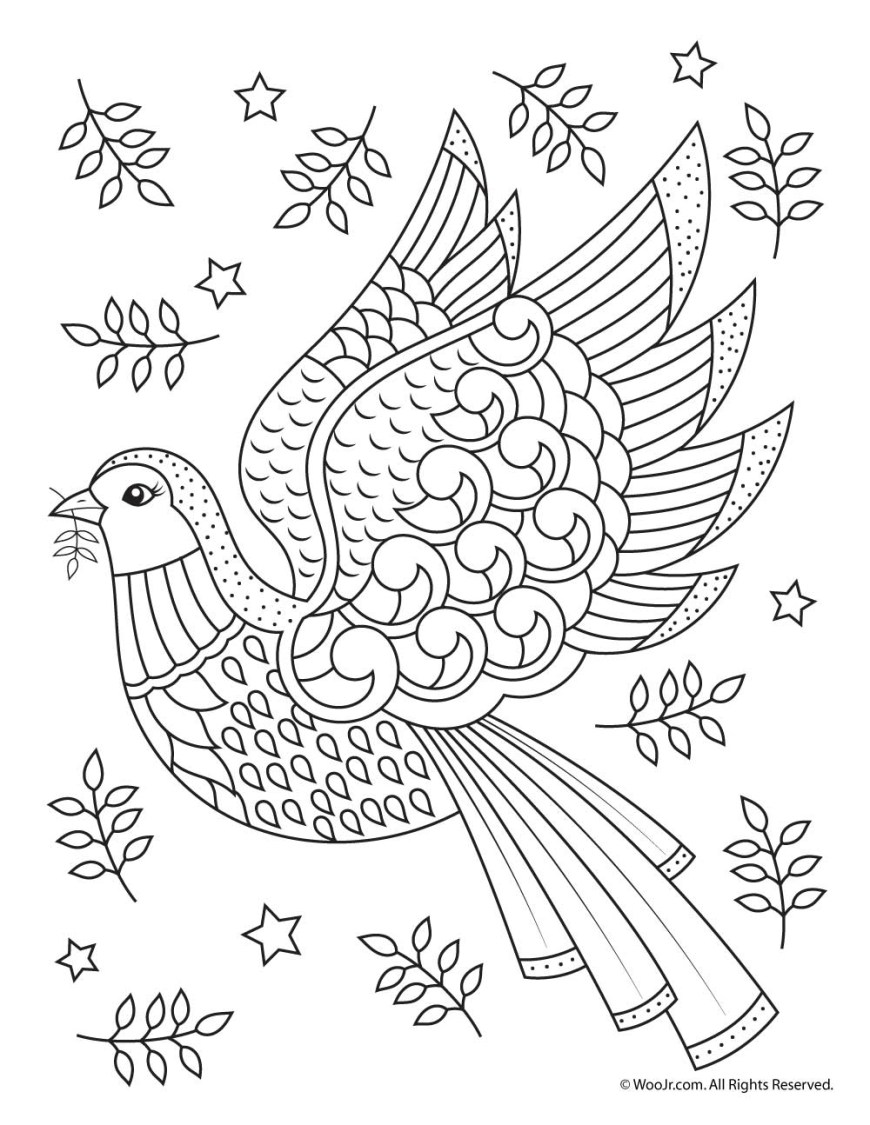 Adult Coloring Pages Adult Coloring Page Christmas Dove Woo Jr Kids Activities