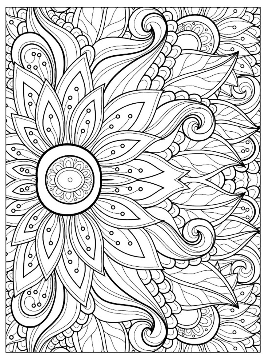Adult Coloring Pages Flower With Many Petals Flowers Adult Coloring Pages
