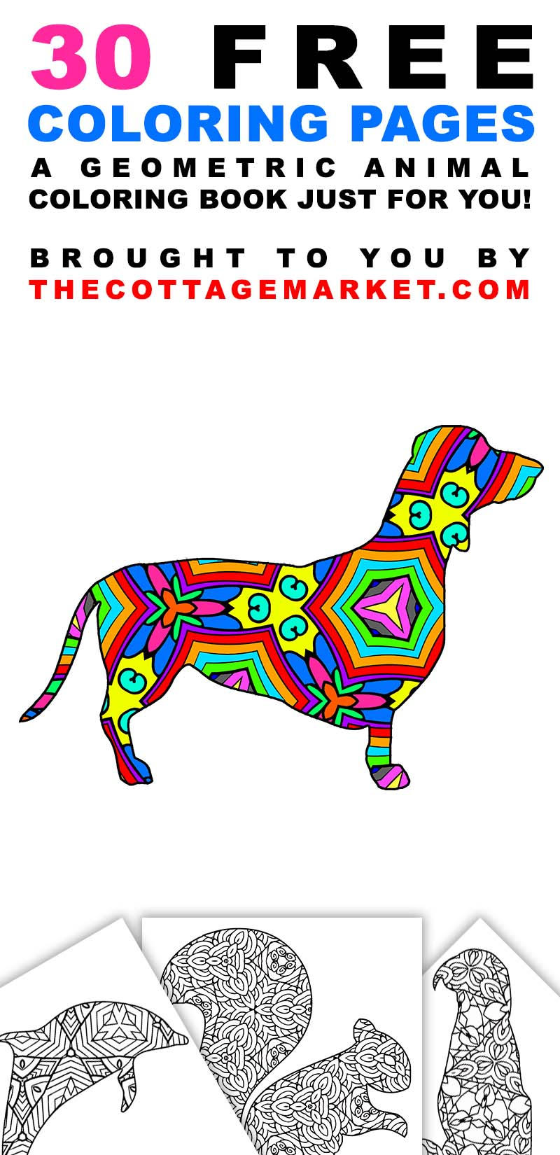 Animals Coloring Pages 30 Free Printable Geometric Animal Coloring Pages The Cottage Market