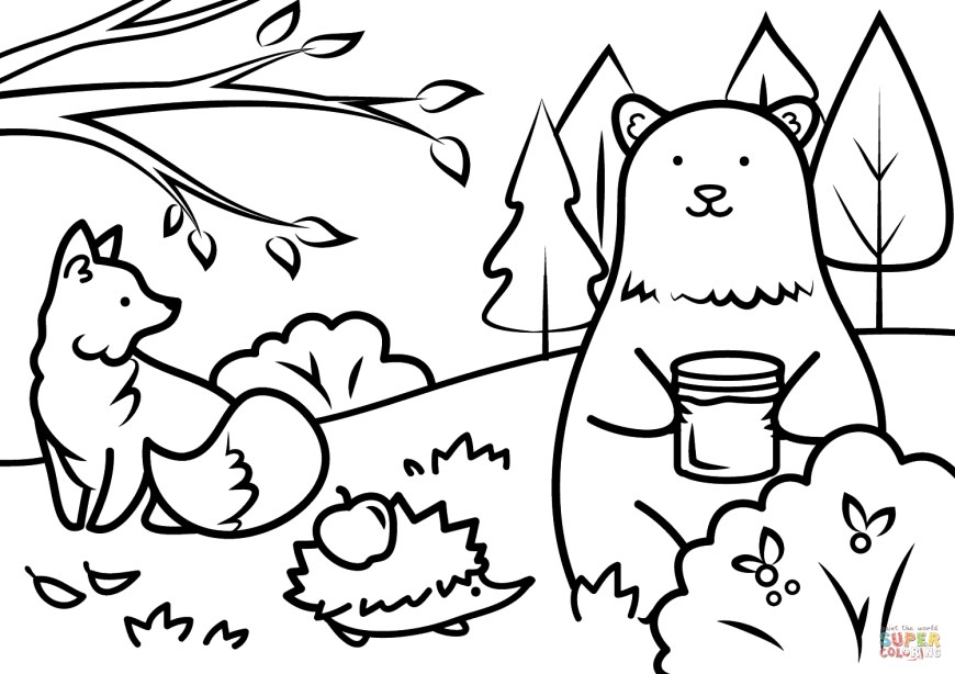 Animals Coloring Pages Autumn Animals Coloring Page Free Printable Coloring Pages