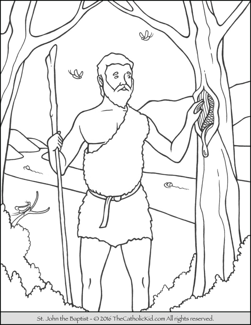 Baptism Coloring Pages Saint John The Baptist Coloring Pages The Catholic Kid