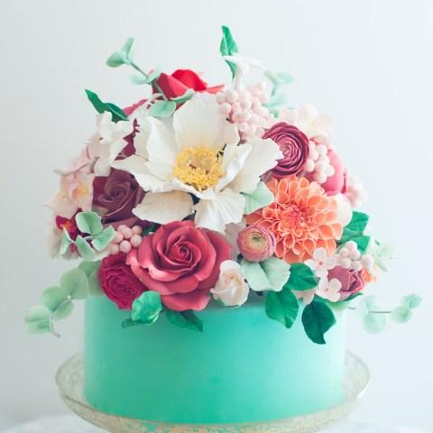 Birthday Cake And Flowers Aqua Floral Cake Lulus Sweet Secrets Cake Pinterest Cake