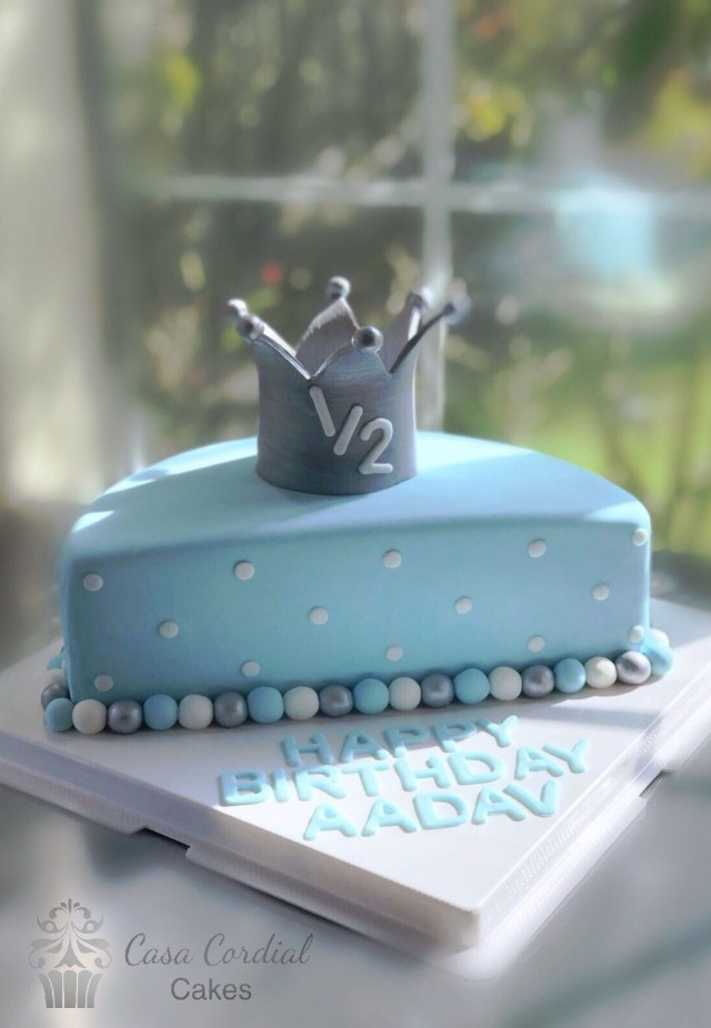 Birthday Cake For Boy Half Birthday Cake Ba Boy Cake Birthday Cakes Pinterest Half