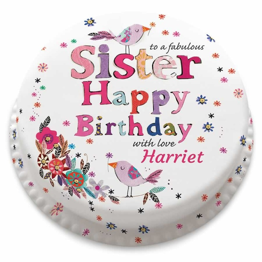 Birthday Cake For Sister Personalised Happy Birthday Sister Cake Bakerdays